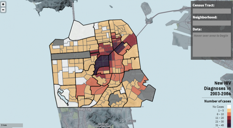 Partial screen capture of the interactive map Atlas of HIV/AIDS in San Francisco