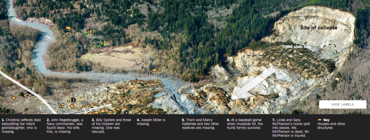 Partial screen capture of the interactive map Houses in the Path of the Washington Mudslide