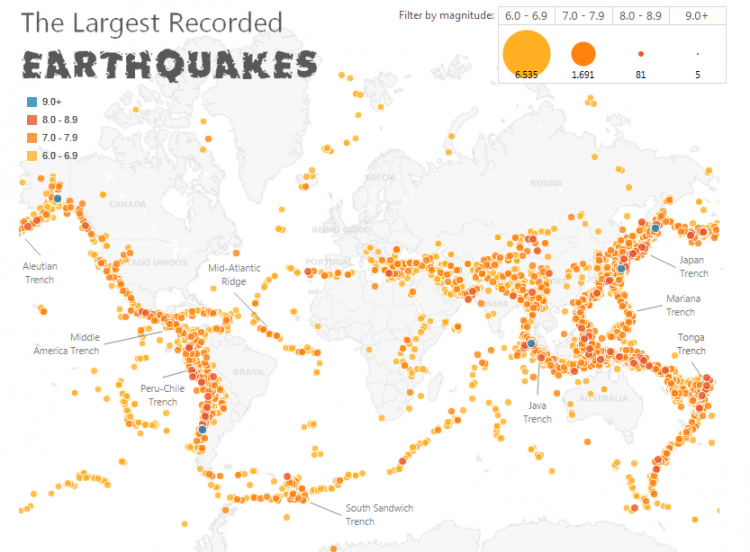 Partial screen capture of the interactive The largest recorded earthquakes