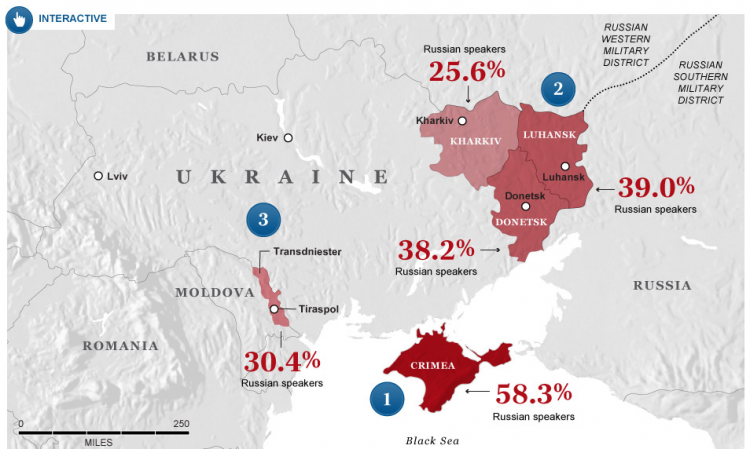 Partial screen capture of the interactive map Ukraine: the next possible flashpoints