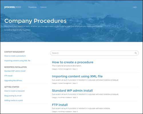 processpress wp theme for creating procedures image