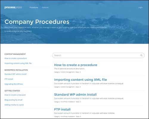 processpress wp theme for creating procedures image