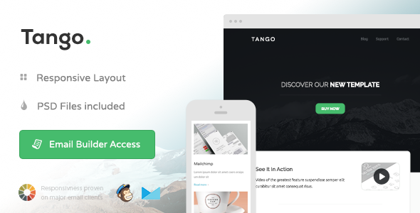 Tango - Responsive Email + Themebuilder Access - Email Templates Marketing