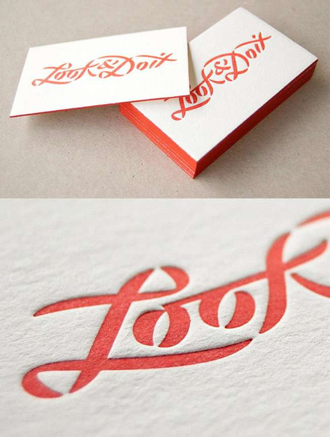 Bright Red Edge Painted Minimal Business Card