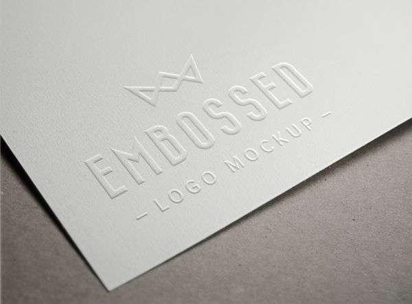 Free emobssed paper logo PSD mockup.