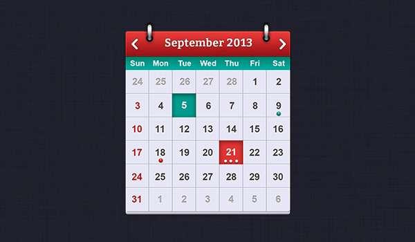 Free iOS calendar PSD mockup.