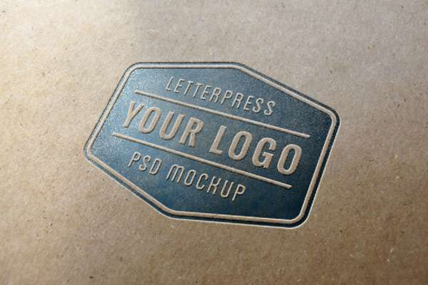Free letterpress logo PSD mockup.