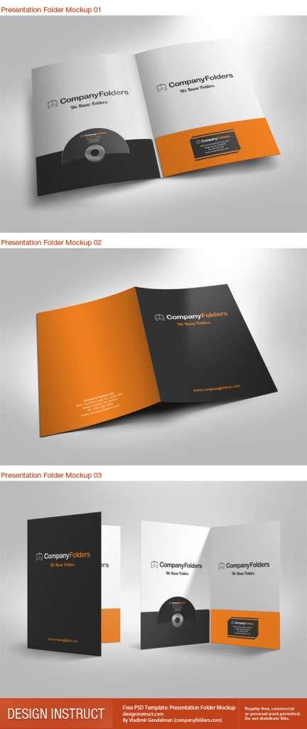 Free presentation folder PSD mockup.
