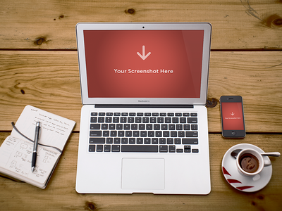 Free laptop screen PSD mockup.