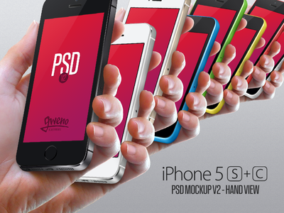 Free iphone 5S and 5C PSD mockup.