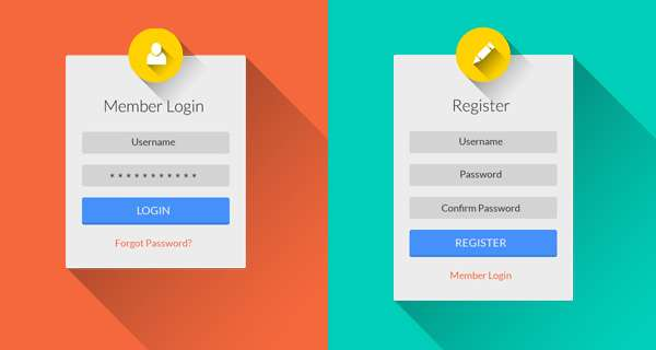 Free login register PSD mockup.