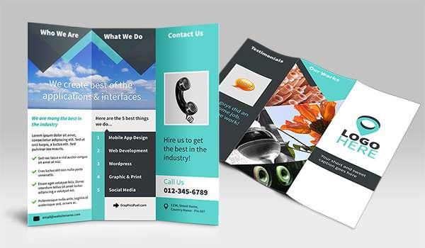 Free tri-fold brochure PSD mockup.