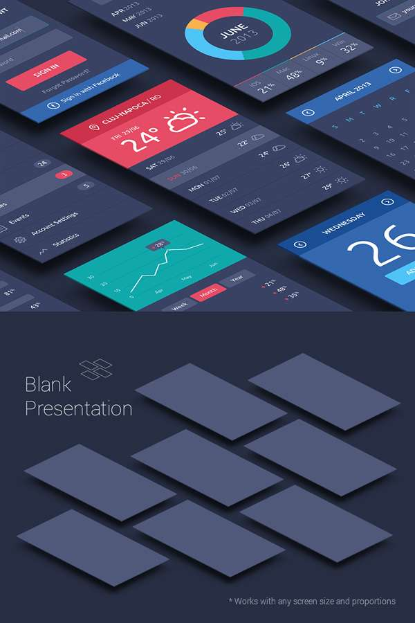 Free app screens PSD mockup.