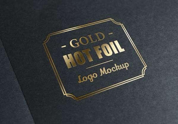 Free gold stamp logo PSD mockup.