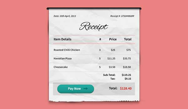Free receipt PSD mockup.