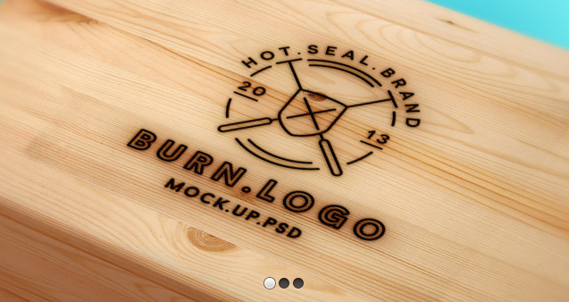 Free wood burnt logo PSD mockup.