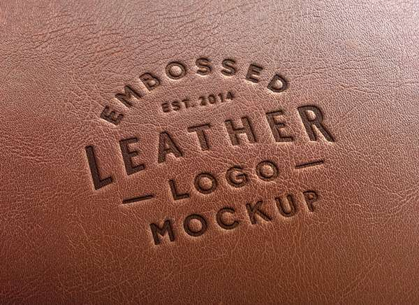 Free leather embossed logo PSD mockup.