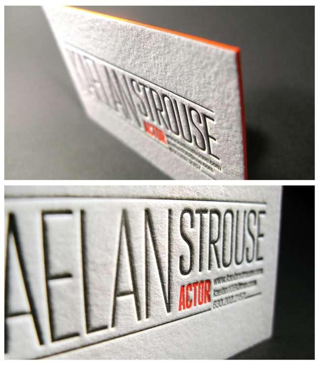 Letterpress Business Card for Actor