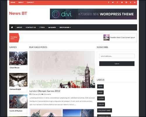 NewsBT Responsive 3 Column News Free Blogger Template image