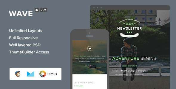 Wave - Responsive Email + Themebuilder Access - Newsletters Email Templates