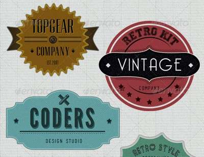 Retro Badges Faded Vintage Labels