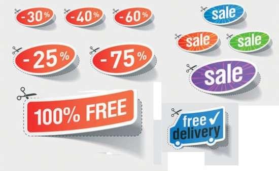 Sales Discount Sticker Vector